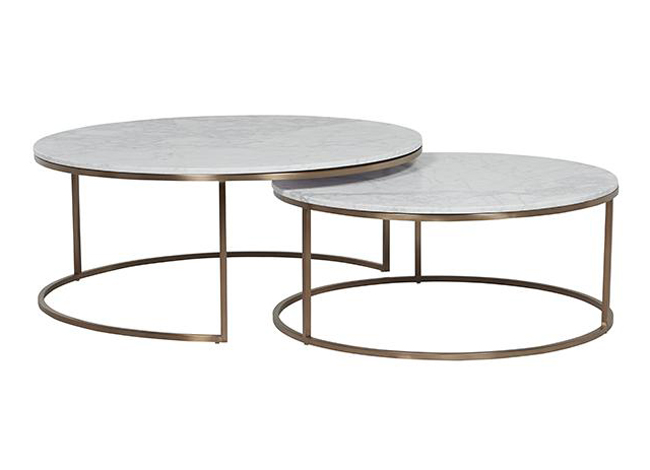 Globewest Elle Round Marble Nest Coffee Tables